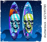 graphic design with skull  palm ... | Shutterstock .eps vector #627195785
