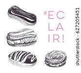 vector hand drawn set of eclair ... | Shutterstock .eps vector #627205451