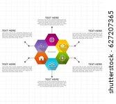business infographic hexagons... | Shutterstock .eps vector #627207365