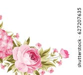 floral garland template. happy... | Shutterstock . vector #627207635