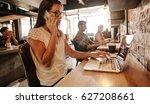 shot of young businesswoman...   Shutterstock . vector #627208661