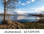 reflections of country farm... | Shutterstock . vector #627209195