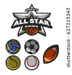all star game  logo  emblem for ... | Shutterstock .eps vector #627215345