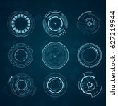 set of sci fi futuristic user... | Shutterstock .eps vector #627219944