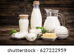 fresh dairy products on the...   Shutterstock . vector #627222959