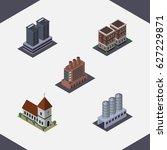 isometric urban set of tower