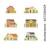 houses vector colorful flat... | Shutterstock .eps vector #627230429