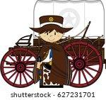 cartoon cowboy and wagon | Shutterstock .eps vector #627231701