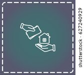 line icon  hand  money for house   Shutterstock .eps vector #627240929