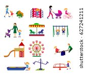 amusement park  and playground... | Shutterstock .eps vector #627241211