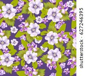 floral seamless pattern on blue ... | Shutterstock .eps vector #627246395