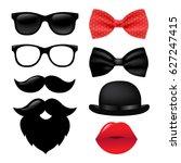 hipster set gradient mesh ... | Shutterstock .eps vector #627247415