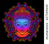 buddha head with paisley... | Shutterstock .eps vector #627249644