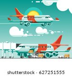 the plane flying between the... | Shutterstock .eps vector #627251555