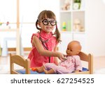 child in kindergarten. kid in... | Shutterstock . vector #627254525