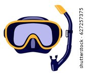 scuba mask and snorkel isolated ... | Shutterstock .eps vector #627257375