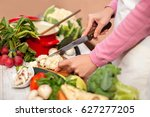 slicing and preparing... | Shutterstock . vector #627277205
