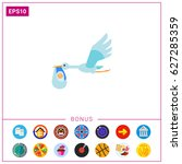 baby and stork icon | Shutterstock .eps vector #627285359