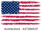grunge usa flag. american flag. | Shutterstock .eps vector #627286019