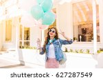 gorgeous girl with long hair... | Shutterstock . vector #627287549