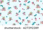 seamless random folk pattern in ... | Shutterstock .eps vector #627292289