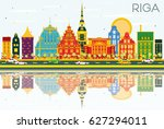 riga skyline with color... | Shutterstock .eps vector #627294011