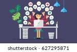 web social network concept for... | Shutterstock .eps vector #627295871