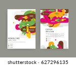cards in modern abstract style... | Shutterstock .eps vector #627296135
