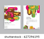 cards in modern abstract style... | Shutterstock .eps vector #627296195