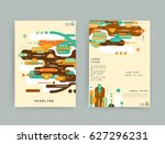 cards in modern abstract style... | Shutterstock .eps vector #627296231