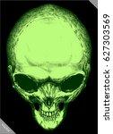 engrave isolated alien skull... | Shutterstock .eps vector #627303569