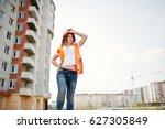 engineer builder woman in... | Shutterstock . vector #627305849