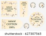 cotton logos  icons  labels ... | Shutterstock .eps vector #627307565