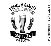 hand drawn beer emblem with... | Shutterstock .eps vector #627312365