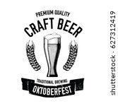 hand drawn beer emblem with... | Shutterstock .eps vector #627312419