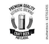 hand drawn beer emblem with... | Shutterstock .eps vector #627312431