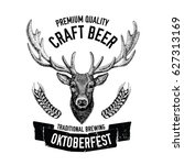 hand drawn beer emblem with...   Shutterstock .eps vector #627313169