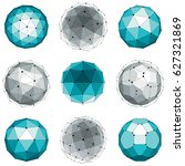 set of abstract 3d faceted... | Shutterstock . vector #627321869