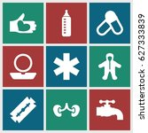 care icons set. set of 9 care... | Shutterstock .eps vector #627333839