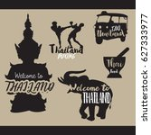 travel set icons. thailand.... | Shutterstock .eps vector #627333977