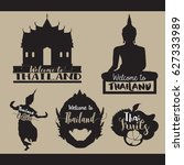 travel set icons. thailand.... | Shutterstock .eps vector #627333989