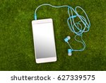 white smart phone and blue... | Shutterstock . vector #627339575