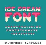 ice cream font. popsicle... | Shutterstock . vector #627343385