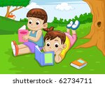 boy and girl reading book | Shutterstock .eps vector #62734711