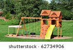 Back Yard Wooden Swing Set On...