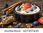 fresh white yogurt with... | Shutterstock . vector #627357635