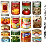 canned food set on white | Shutterstock .eps vector #627360047