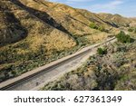Railroad Track Line Along The...