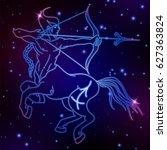 sagittarius zodiac sign ... | Shutterstock .eps vector #627363824