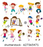 boys and girls in different... | Shutterstock .eps vector #627365471
